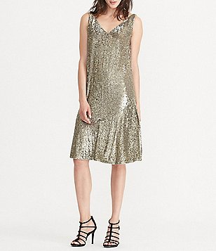 Lauren Ralph Lauren Sequined V-Back Flounce Hem Dress