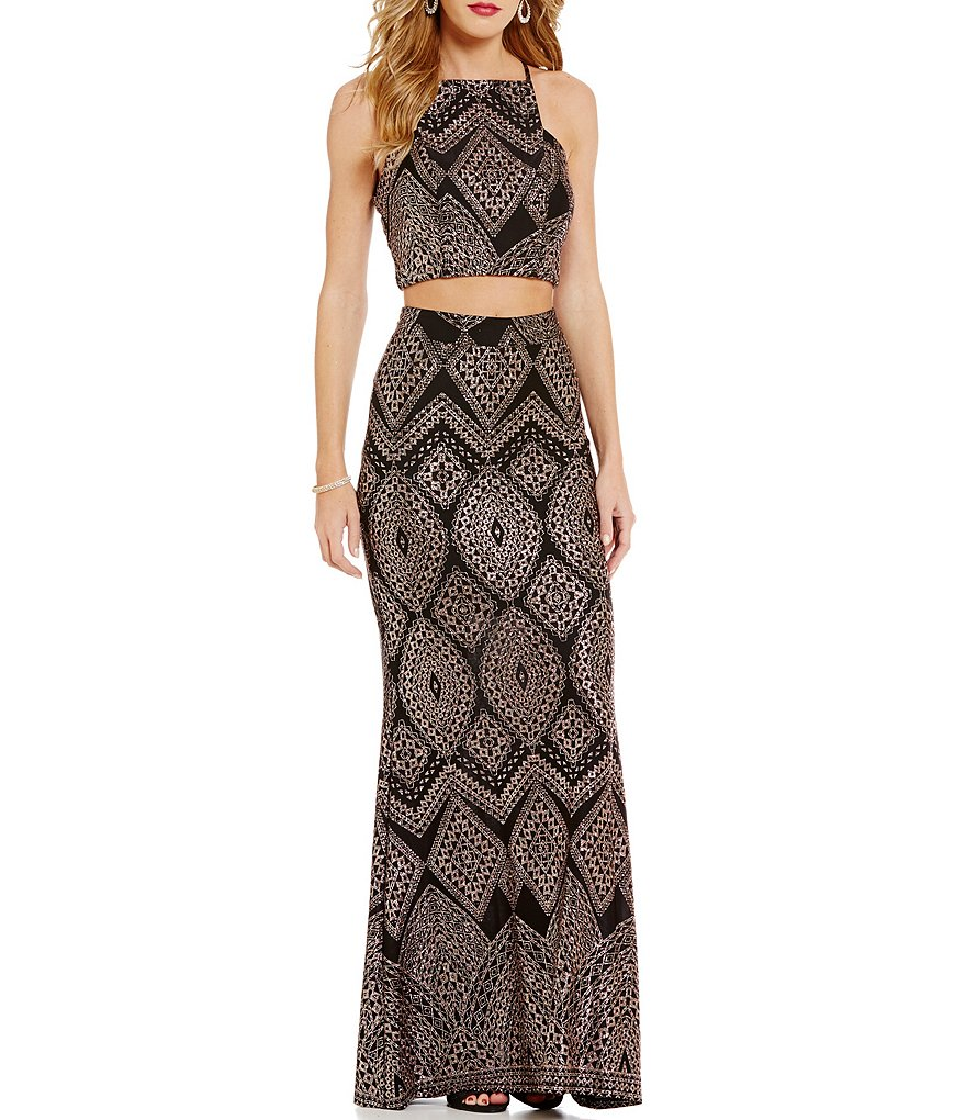 Xtraordinary Glitter Patterned Two-Piece Long Dress