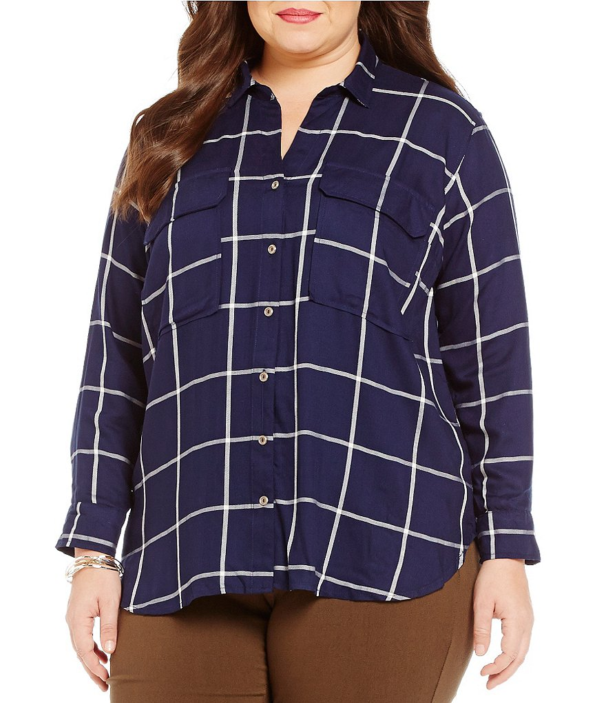 Gibson & Latimer Plus Plaid Button-Down Tunic