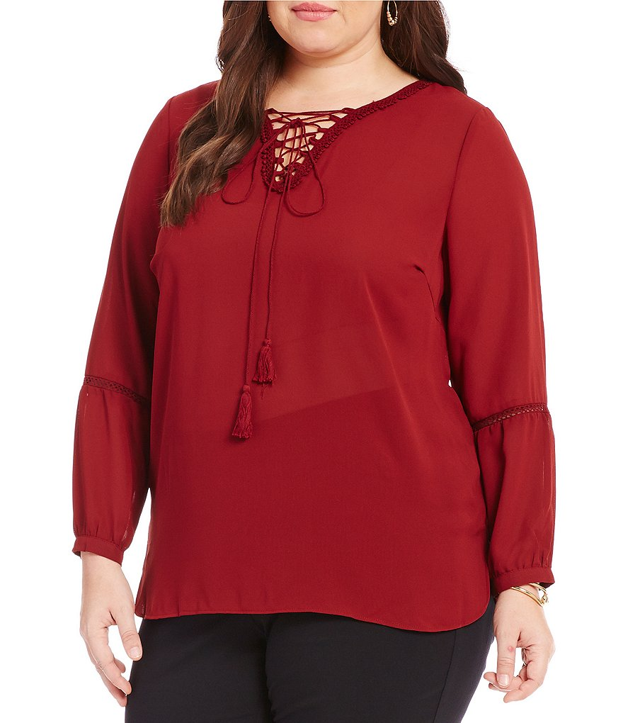 Gibson & Latimer Plus Front Lace-Up Peasant Blouse