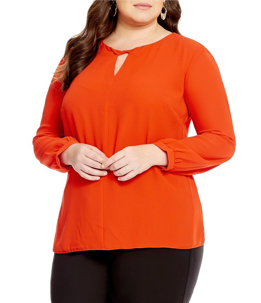 Gibson & Latimer Plus Long Sleeve Twist Neck Blouse