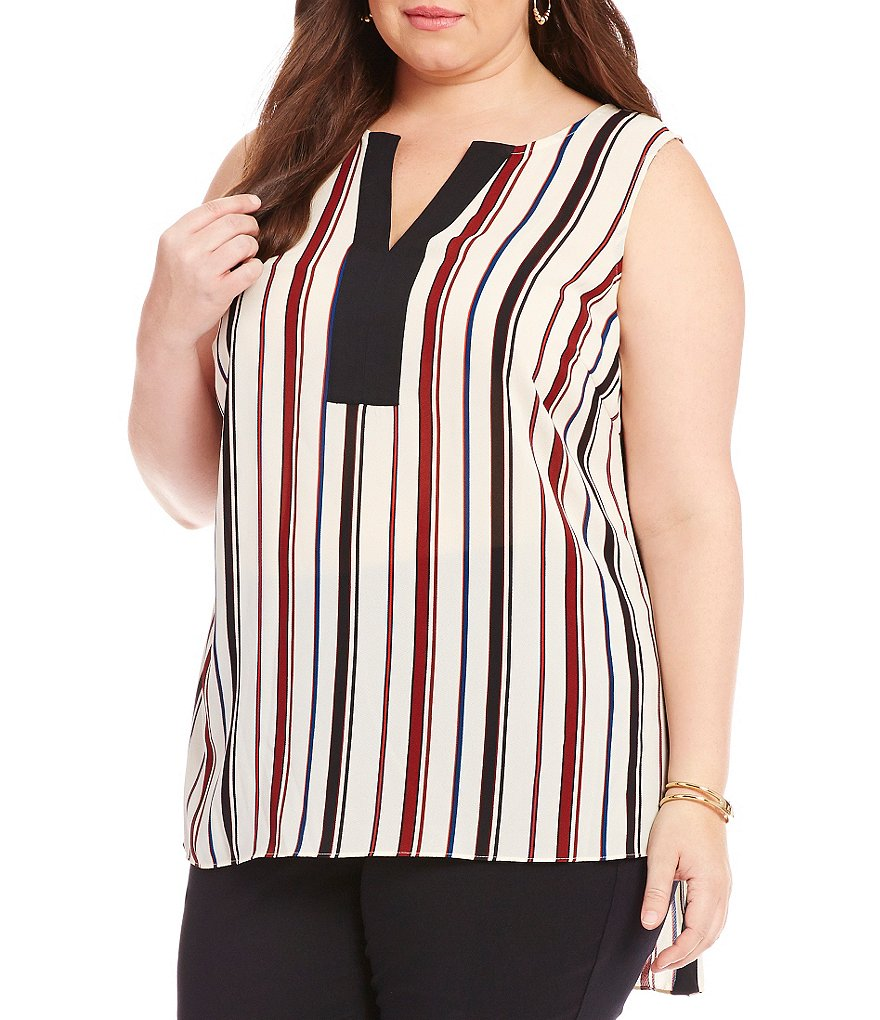 Gibson & Latimer Plus Sleeveless Striped Blouse
