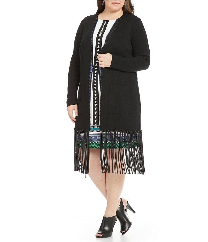 Gibson & Latimer Plus Long Sleeve Fringe Cardigan