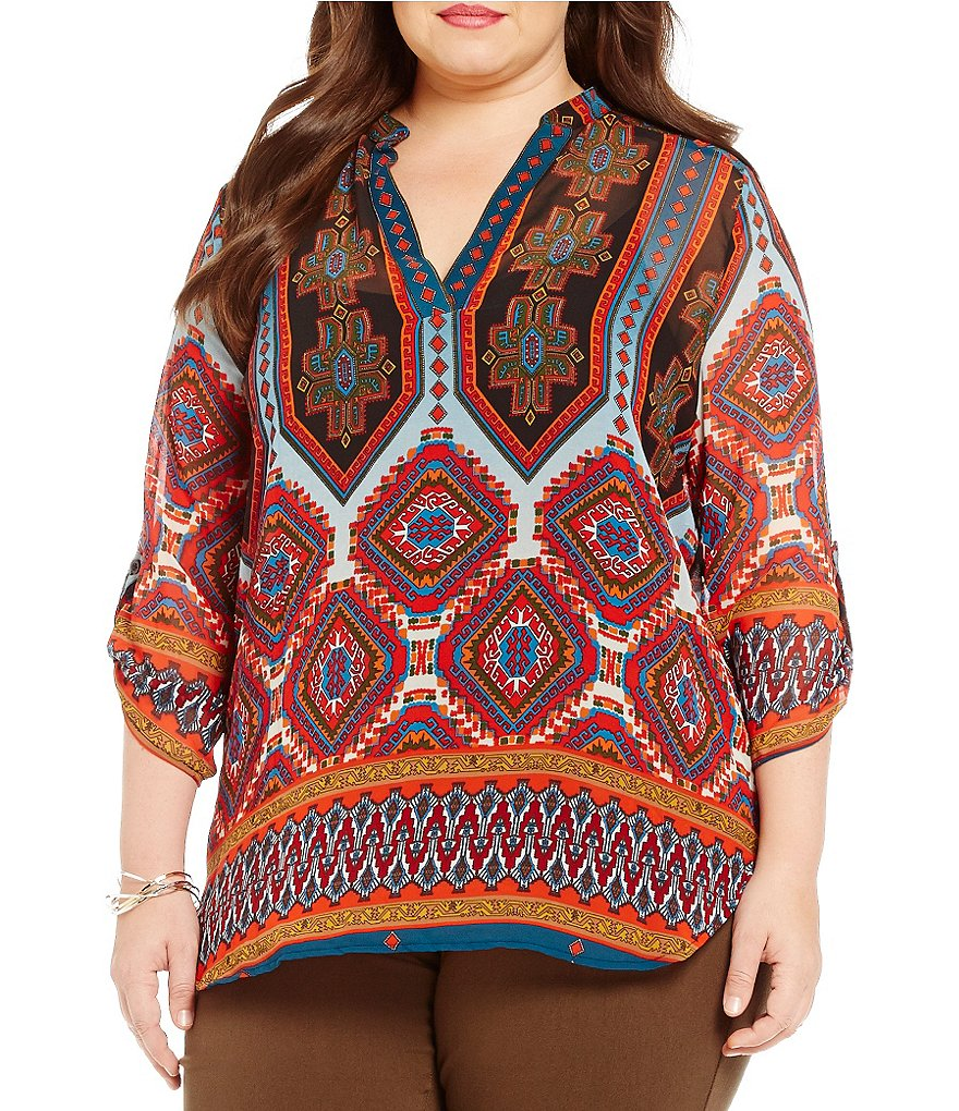 Gibson & Latimer Plus Aztec Printed V-Neck Roll-Tab Sleeve Tunic
