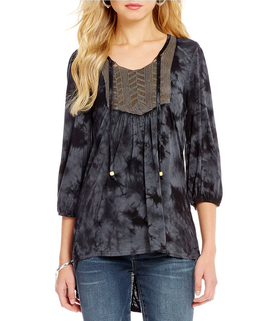One World Apparel Tie-Dye Bishop Sleeve Top
