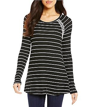 One World Apparel Long Raglan Sleeve Stripe Chunky Thermal Top