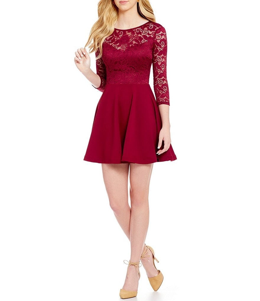 B. Darlin Lace Bodice Illusion Yoke A-Line Dress
