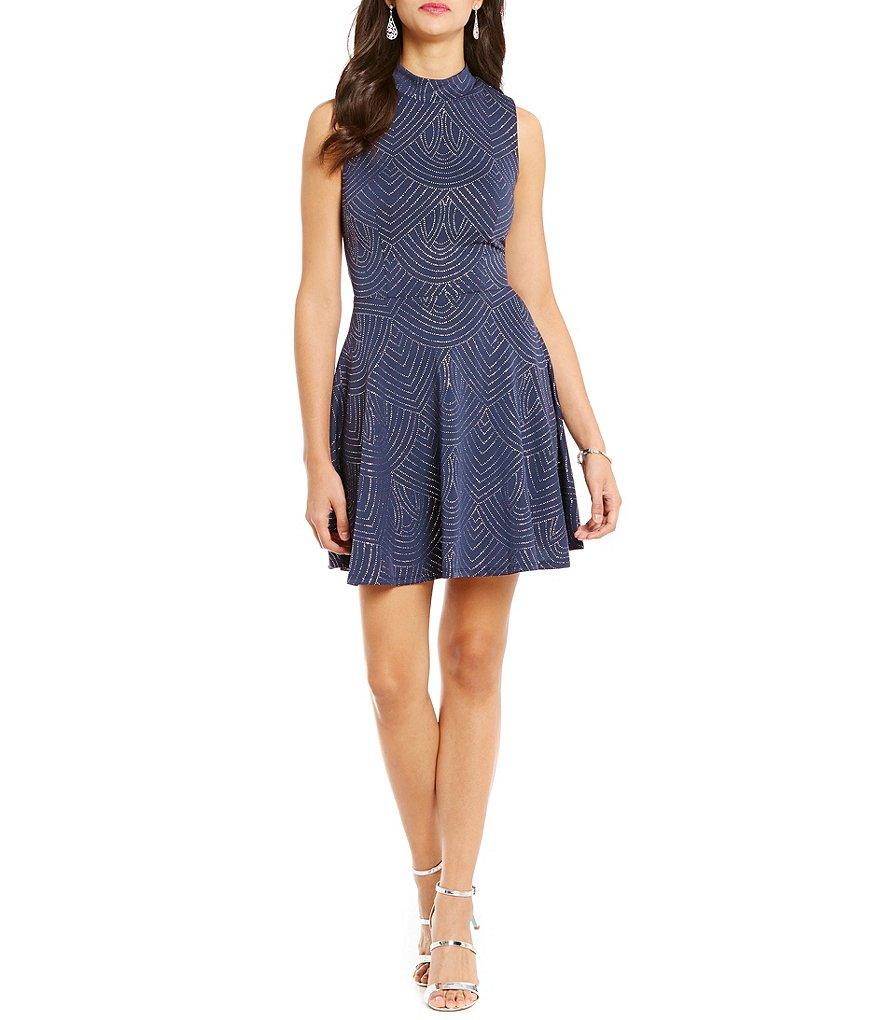 Jodi Kristopher Mock Neck Pattern Skater Dress