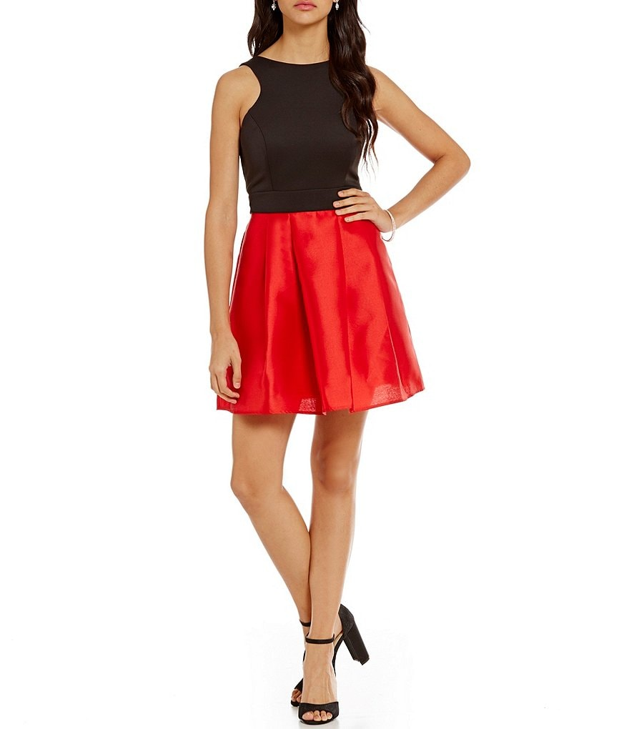 Teeze Me Color Block Halter Fit-and-Flare Dress