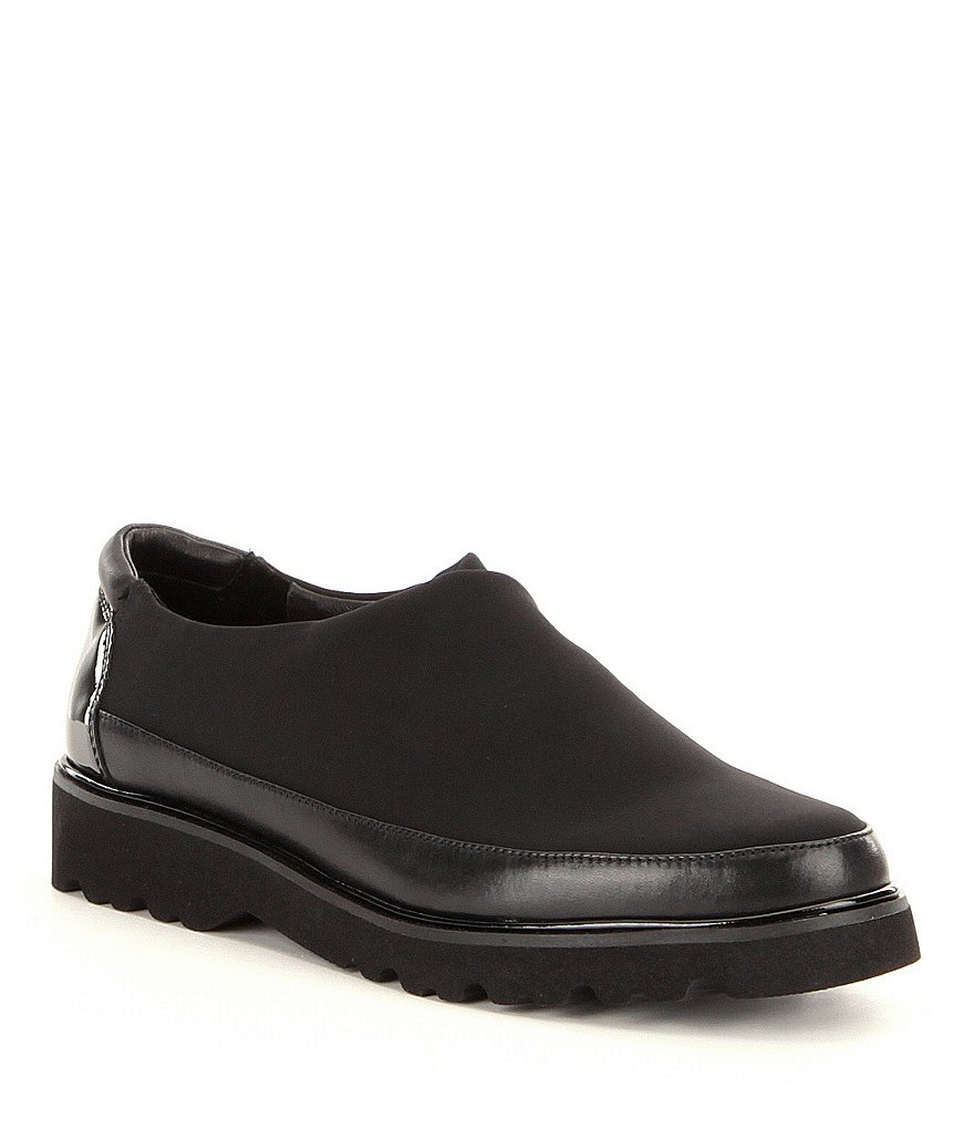 Donald J Pliner Carly Crepe Leather Trim Slip Ons