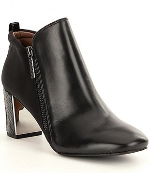 Donald J Pliner Coralie Leather Block Heel Booties