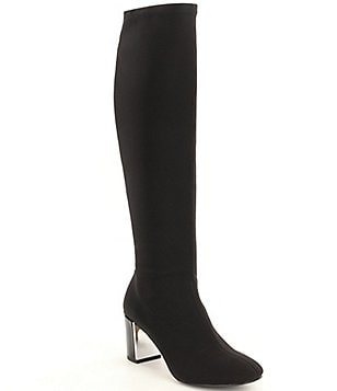 Donald J Pliner Carmack Stretch Crepe Block Heel Tall Boots