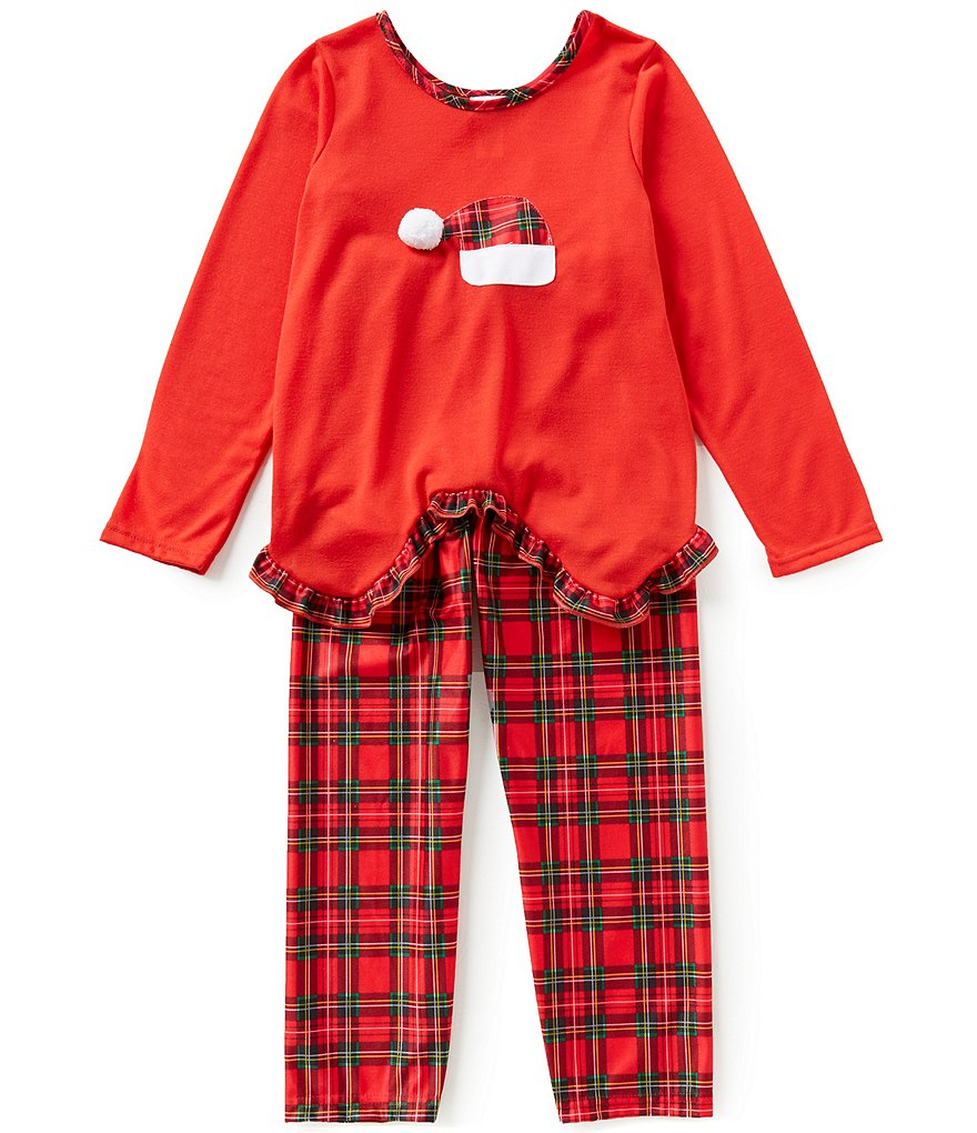 Laura Dare Big Girls 7-14 Christmas Santa Hat Top & Pants Pajama Set