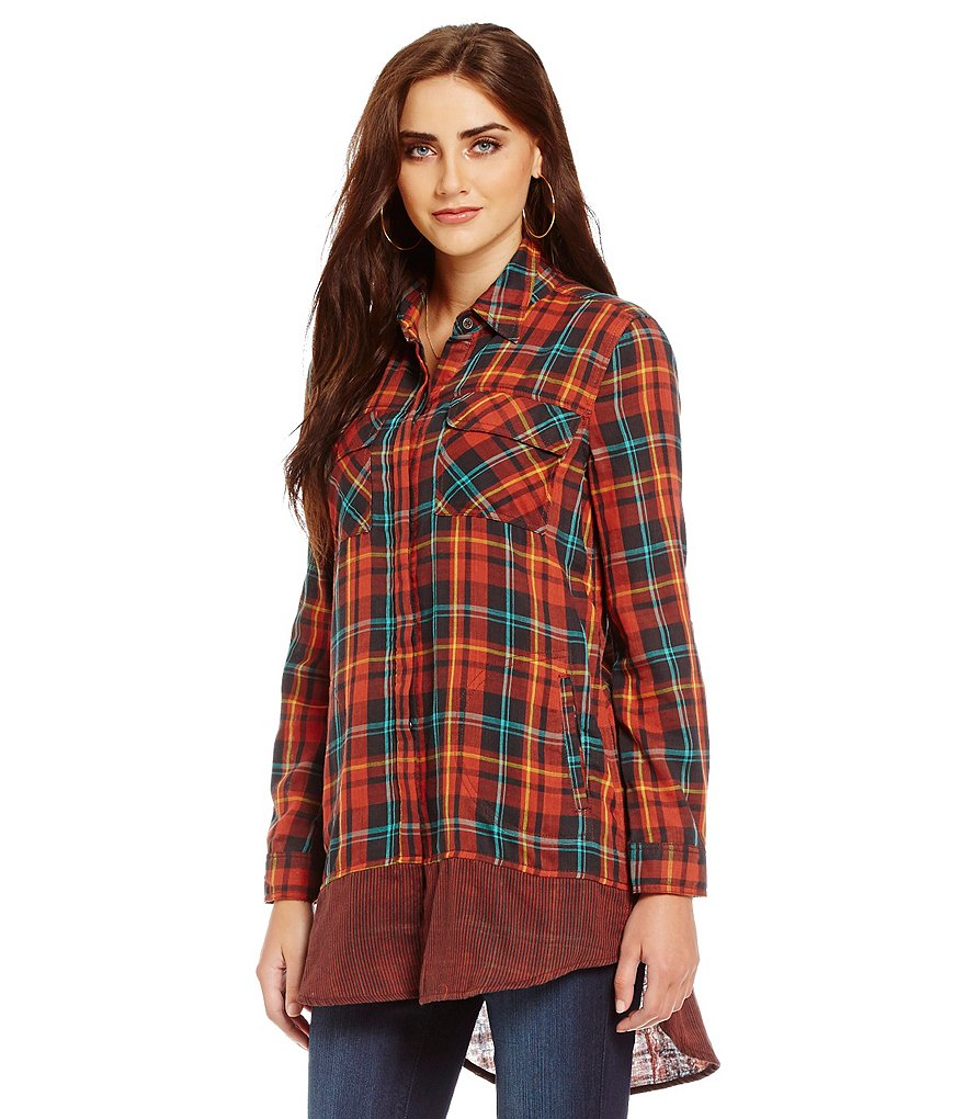 Tru Luxe Jeans Plaid and Striped Long Sleeve Tunic