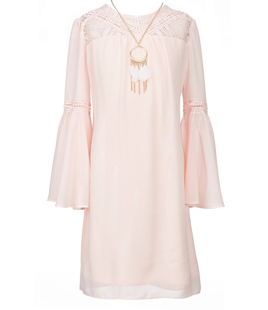 I.N. Girl Big Girls 7-16 A-Line Bell-Sleeve Lace-Yoke Necklace Dress