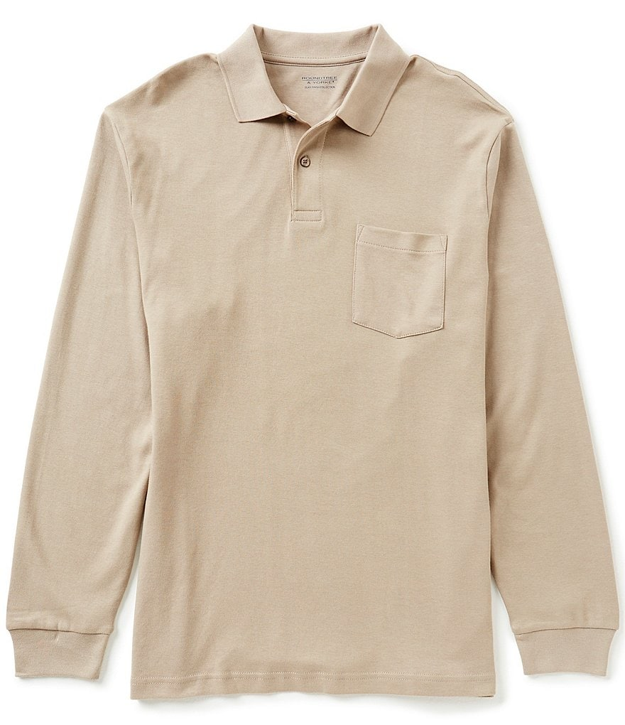 Roundtree & Yorke Big and Tall Silky Finish Long Sleeve Solid Polo