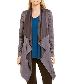 Gibson & Latimer Faux Suede Open Neck Wrap Jacket