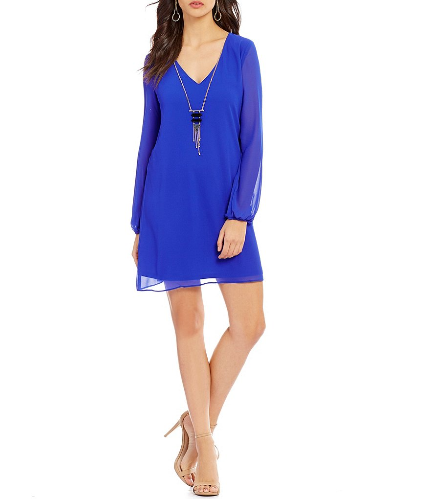 I.N. San Francisco Long-Sleeve Necklace V-Neck Shift Dress