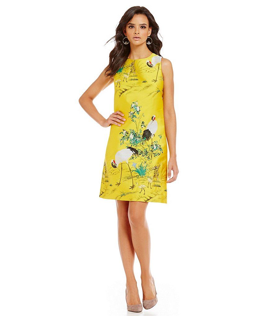 M.S.S.P. Bird Print Sleeveless Jacquard Sheath Dress