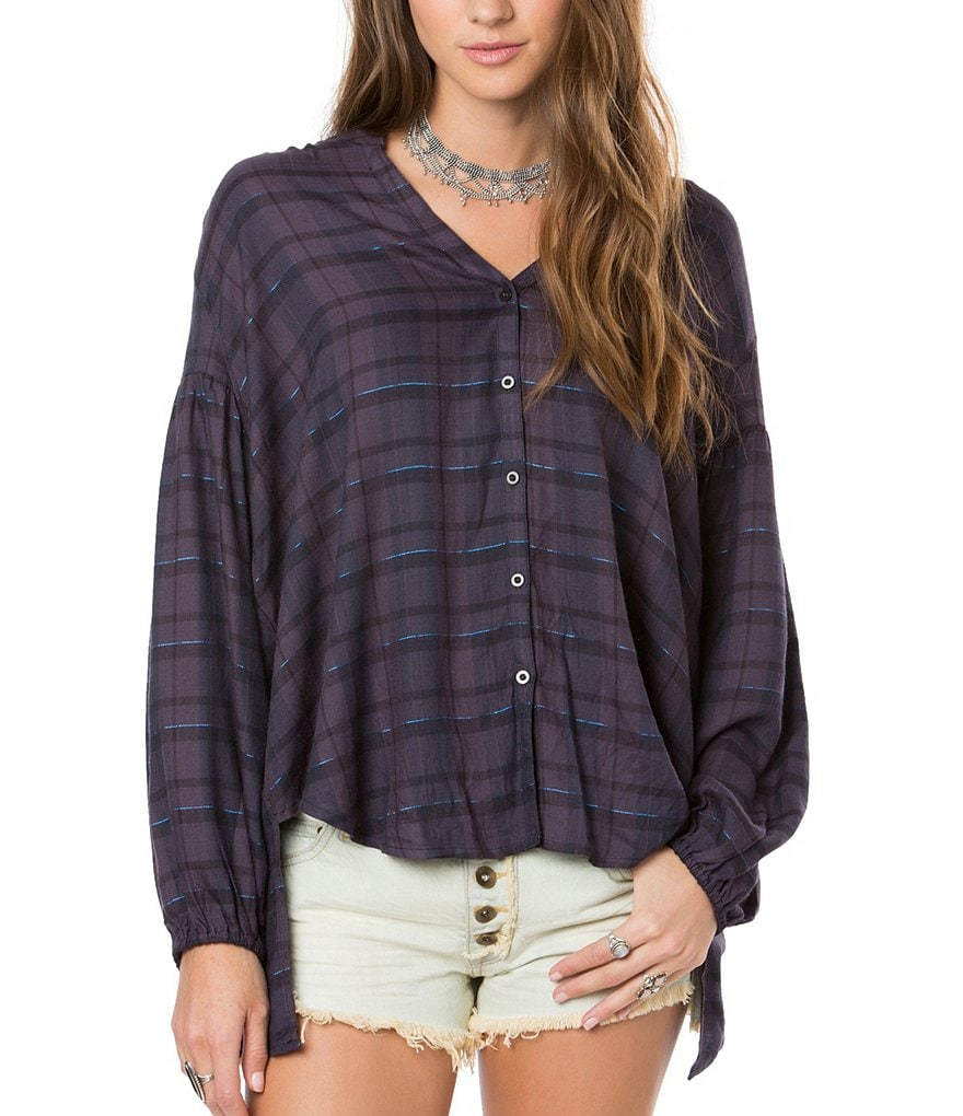 O´Neill Marilyn Plaid Slub Button-Front Blouse