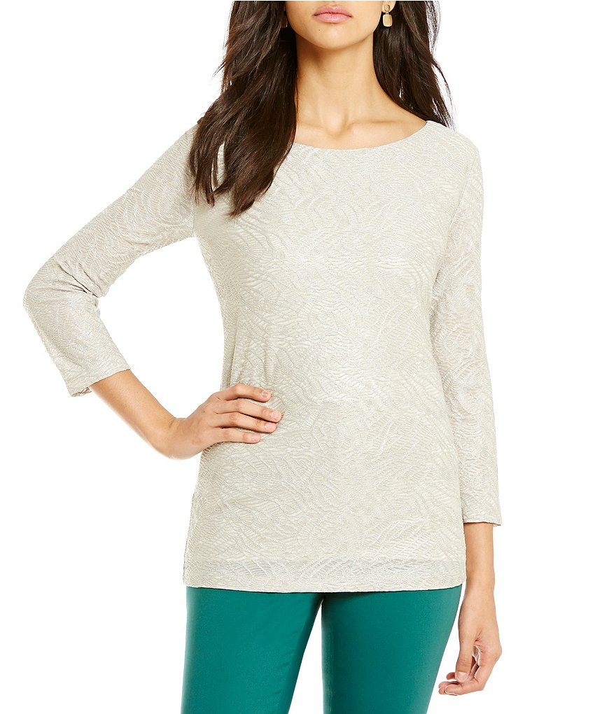 Preston & York Caila Metallic Lace Crew Neck Long Sleeve Knit Top