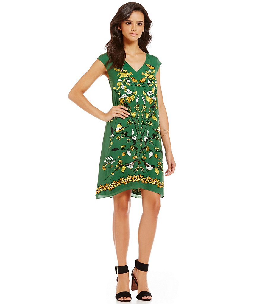 M.S.S.P. Printed Cap Sleeve Shift Dress