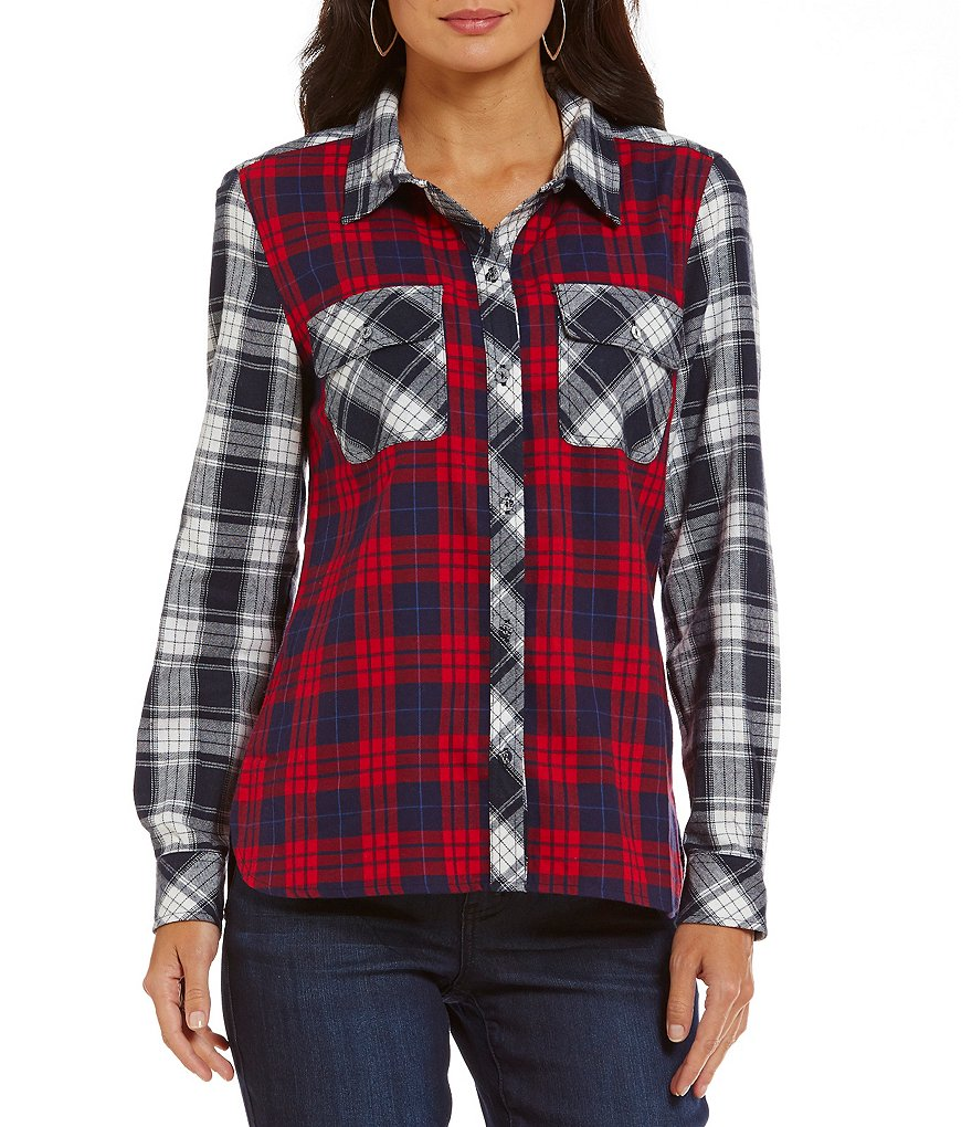 Tru Luxe Jeans Mixed Plaid Button-Front Shirt