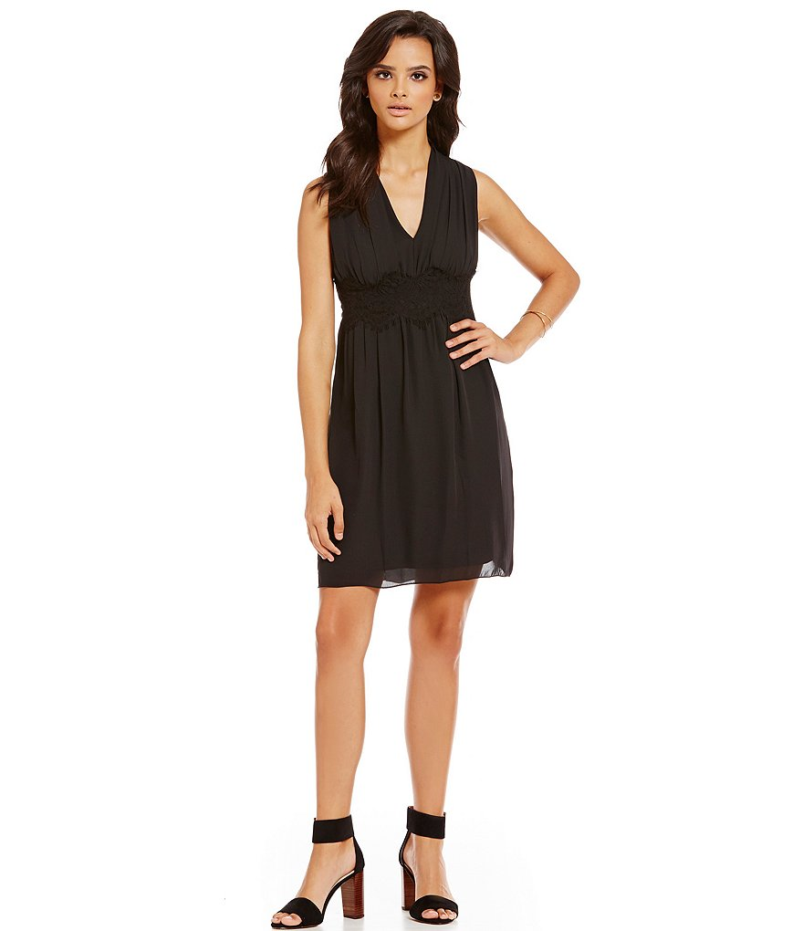 M.S.S.P. Surplice V-Neck Lace Trim Dress