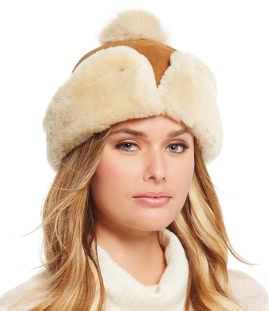 UGG® Cuffed Shearling Hat with Pom