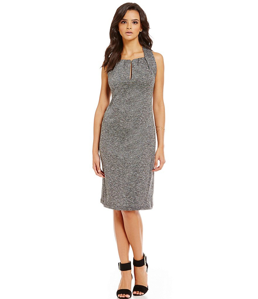 M.S.S.P. Tweedy Ponte Sheath Dress