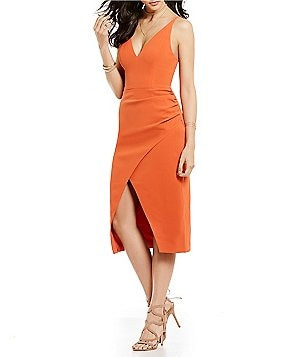 C/MEO Hold On Solid V-Neck Sleeveless Midi Dress