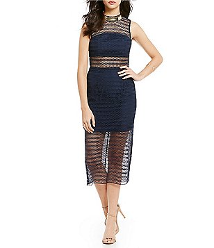 Keepsake All Night Mock Neck Sleeveless Sheer Lace Midi Sheath Dress