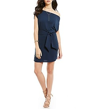 Keepsake Meadows Mini One-Shoulder Front-Tie Sheath Dress