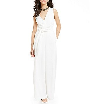 Keepsake Meadows Surplice V-Neck Sleeveless Belted Wide-Leg Jumpsuit
