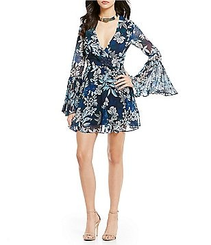 Keepsake Seasons Floral Bell Sleeve V-Neck Mini Dress