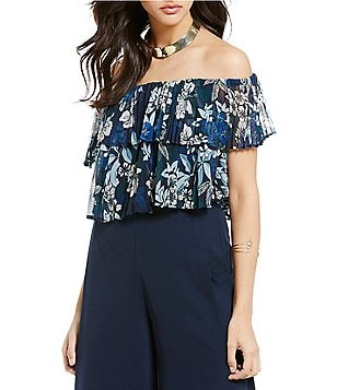 Keepsake Seasons Floral Pleated Off-the-Shoulder Top