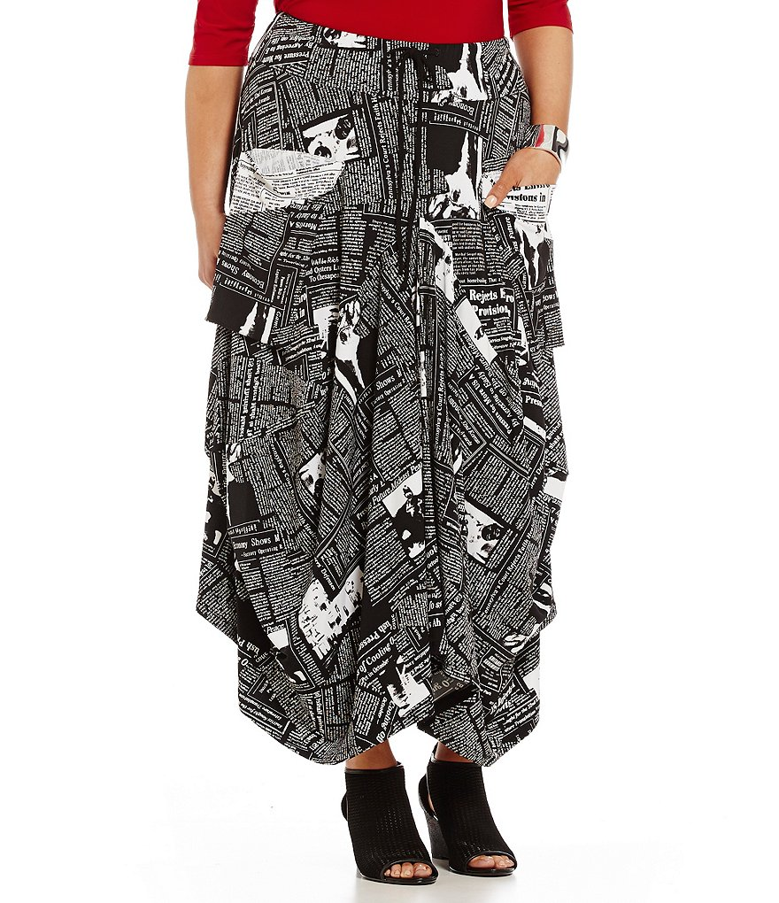 IC Collection Plus Newspaper Print Drawstring Maxi Skirt