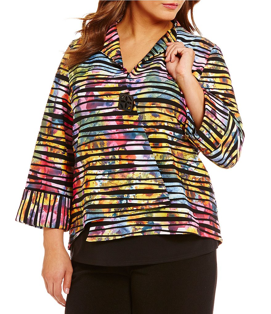 IC Collection Plus One-Button Multi Print Asymmetrical Jacket