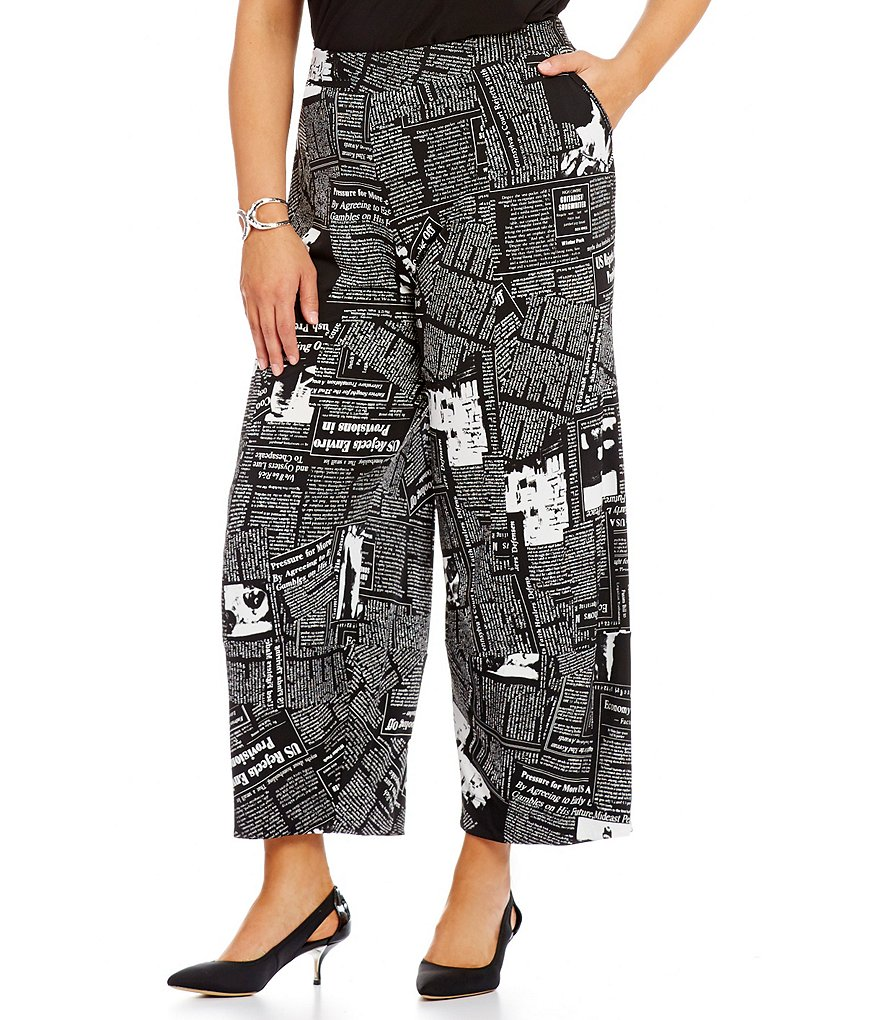IC Collection Plus Newspaper Print Cropped Pants