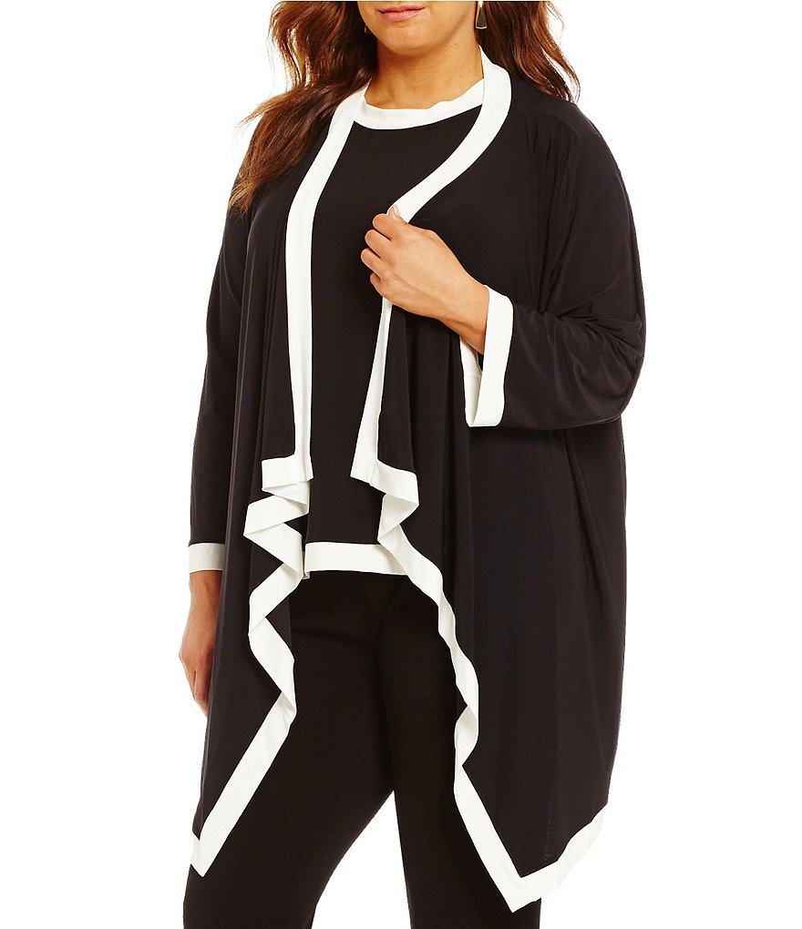 IC Collection Plus Cascade Open Front Contrast Trim Cardigan