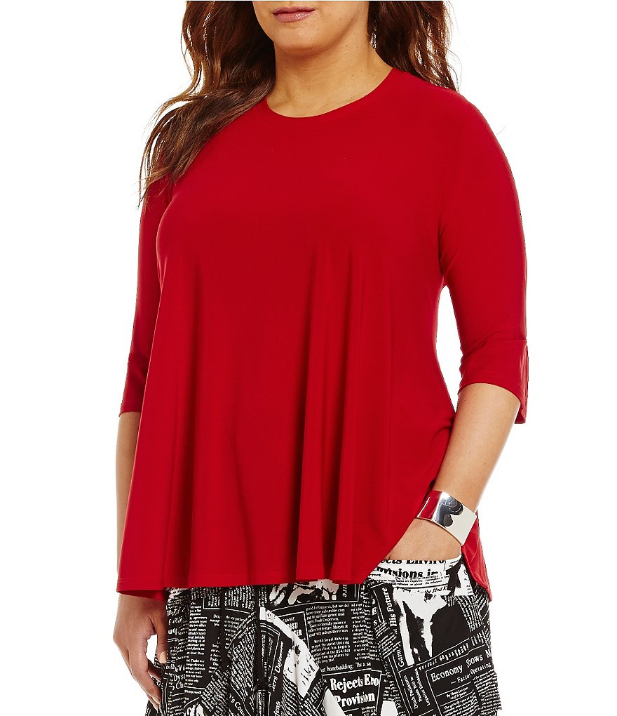 IC Collection Plus Round Neck 3/4 Sleeve Solid Swing Top