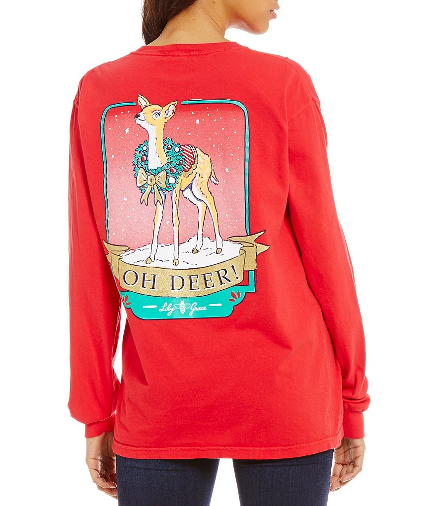 Lily Grace Oh Deer! Long-Sleeve Christmas Graphic Tee