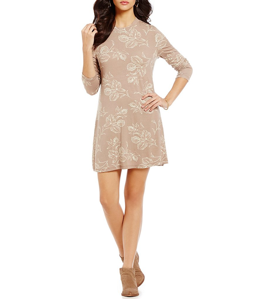 O´Neill Leona Printed Mock Neck Long-Sleeve Dress