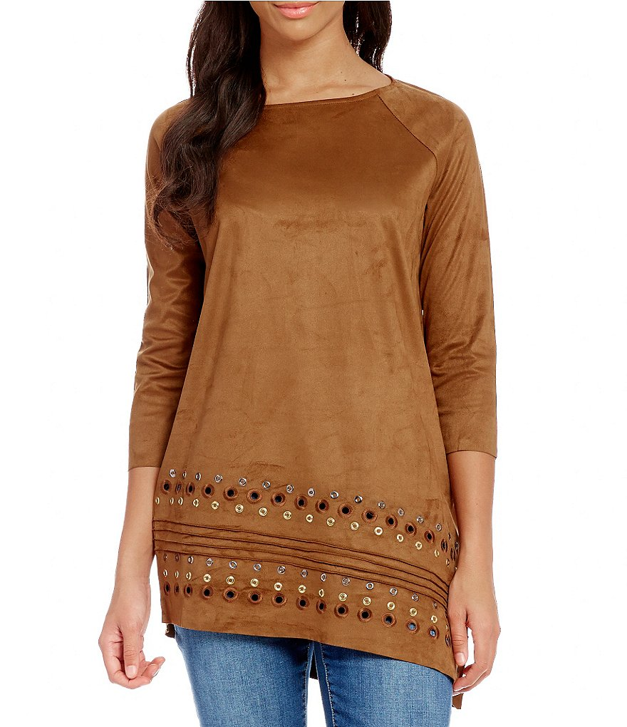 Tru Luxe Jeans Round Neck Long Sleeve Faux-Suede Tunic
