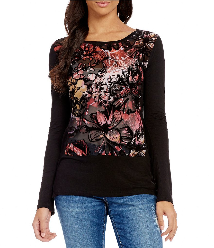 Tru Luxe Jeans Crew Neck Long Sleeve Printed Top