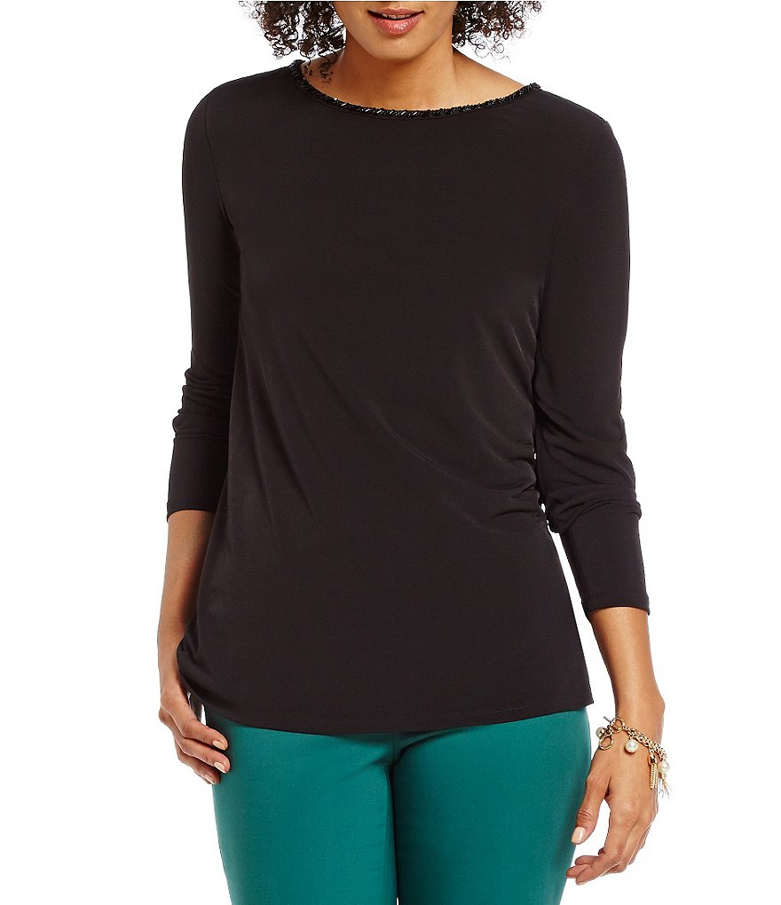 Preston & York Madlen Knit Jeweled Crew Neck Top