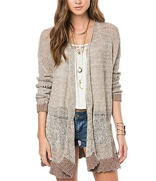 O´Neill Adonis Open-Front Contrast-Trim Scalloped-Hem Cardigan