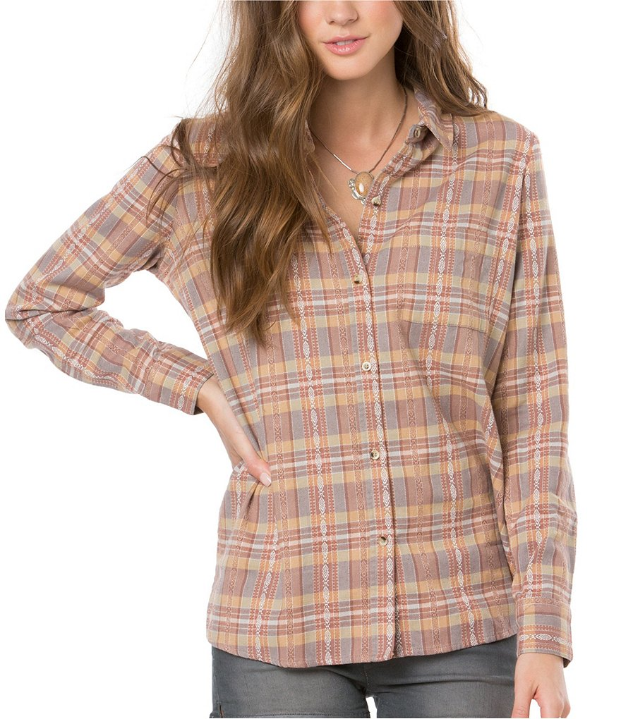 O´Neill Dree Plaid Long-Sleeve Woven Top