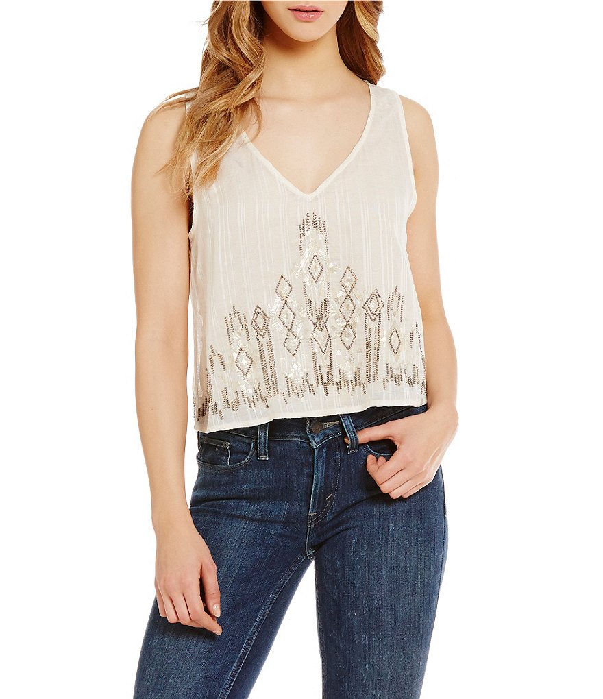 Billabong Spell Bound Foil Print V-Neck Woven Top