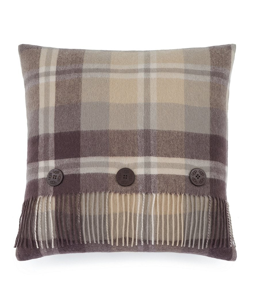 UGG® Glacier Fringed Plaid Wool Feather Pillow
